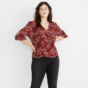 Madewell Tie Sleeve Wrap Top Butterfly Sanctuary